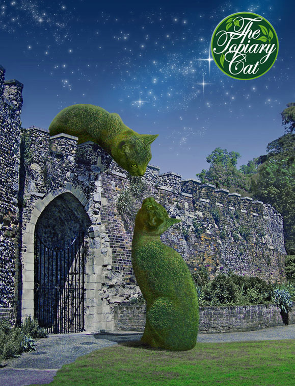 Topiary Cats meeting by moonlight